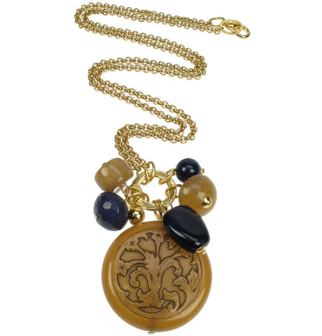 Antique amber, navy multi pendant on gold plated chain