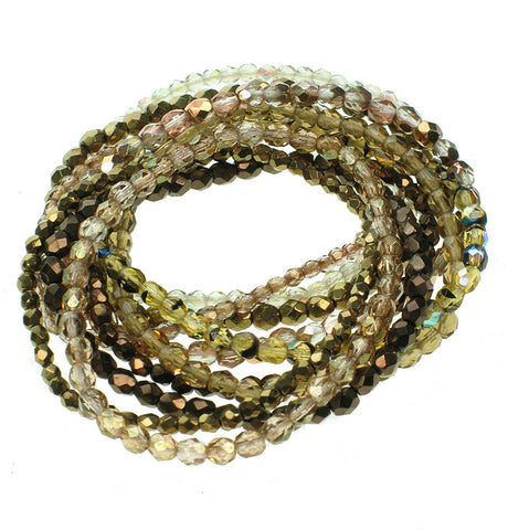 11 strand faceted glass bracelet in tortoise and bronze