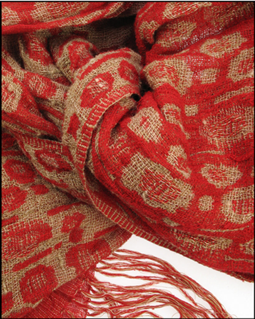 Red and camel 100% silk scarf