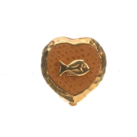 Heart gold plated clip earrings with fish