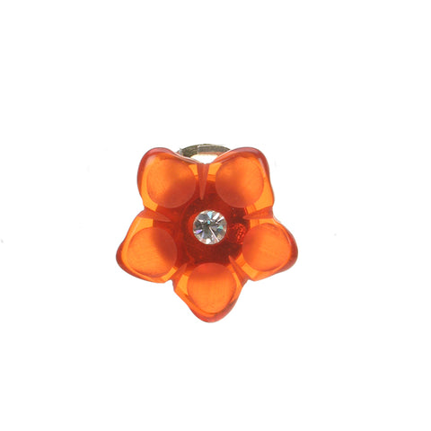 Orange diamante flower clip ear