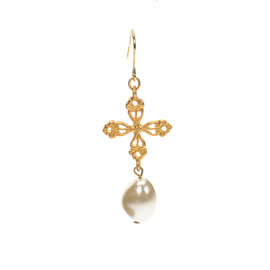 Vintage gold plated cross and pearl drop