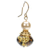 Tortoise and pearl drop earring