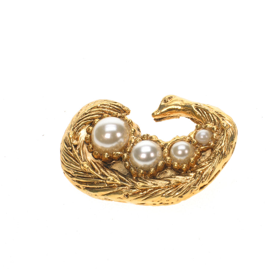 Gold plated peacock brooch with pearls