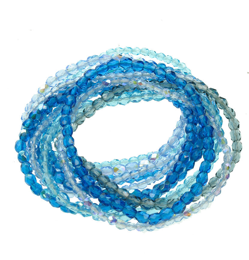 11 strand faceted glass bracelet in summer blue