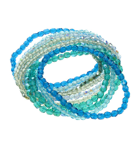 11 Strand faceted glass bracelet in sea colours