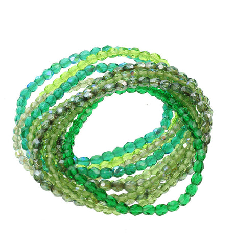 10 strand faceted glass bracelet in green and olive