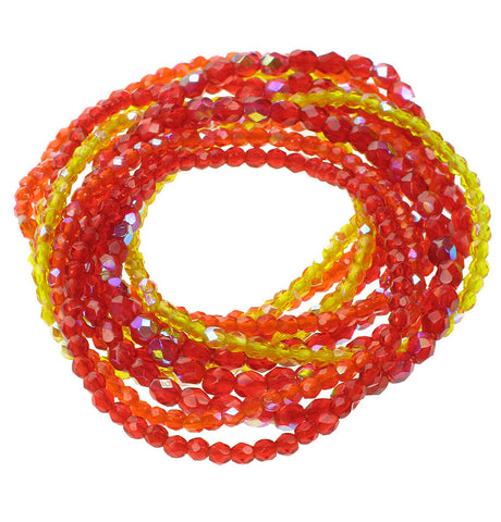 11 strand faceted glass bracelet in orange, yellow and red