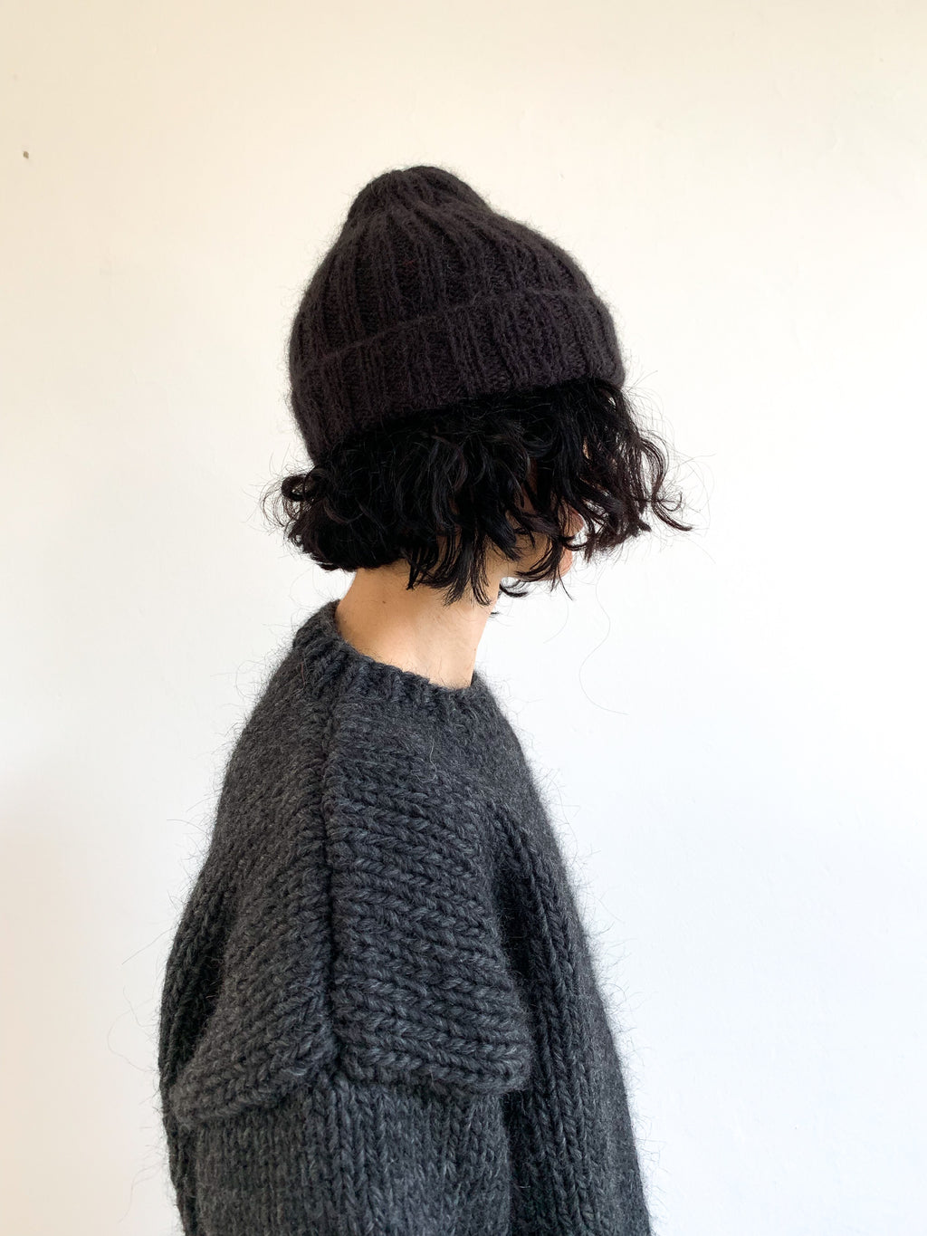 "Hand knitted ""GYU"" Beanie, Cosmic Black"