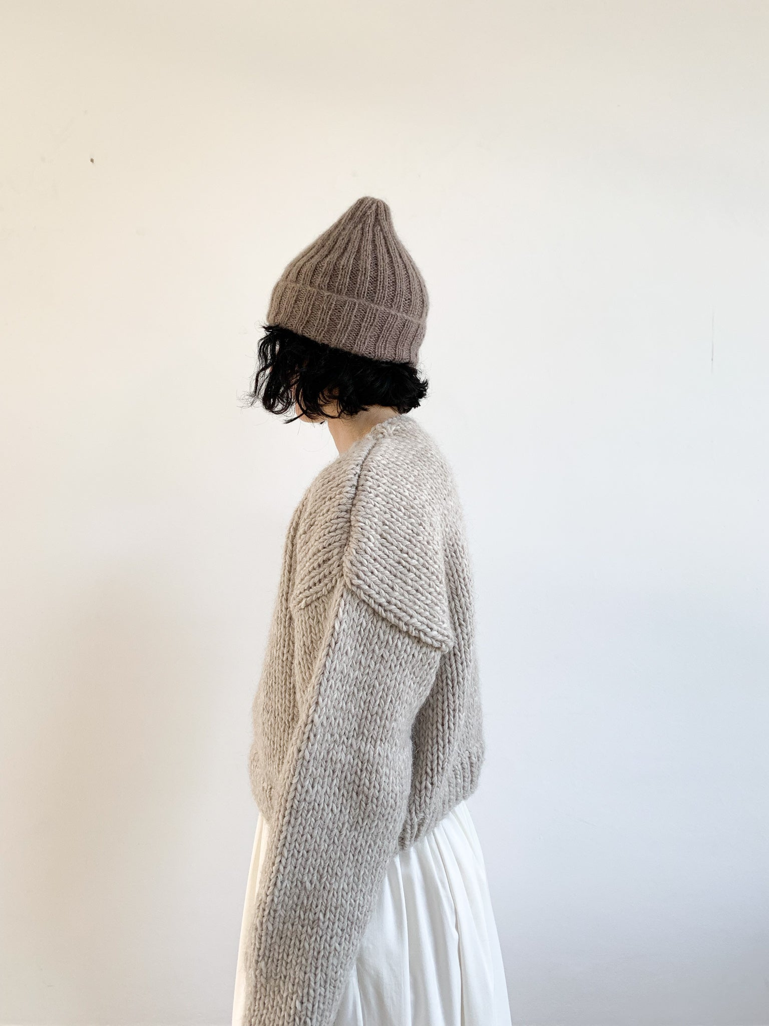 "Hand knitted ""GYU"" Beanie, Warm Grey"