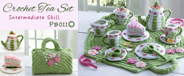 Carnation Tea Set crochet pattern Maggie's Crochet