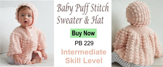 BABY PUFF STITCH SWEATER AND HAT crochet pattern