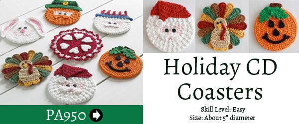 Holiday CD Coasters free crochet pattern Maggie's Crochet