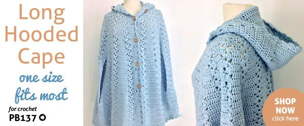 Long Hooded Cape Crochet Pattern Maggie's Crochet