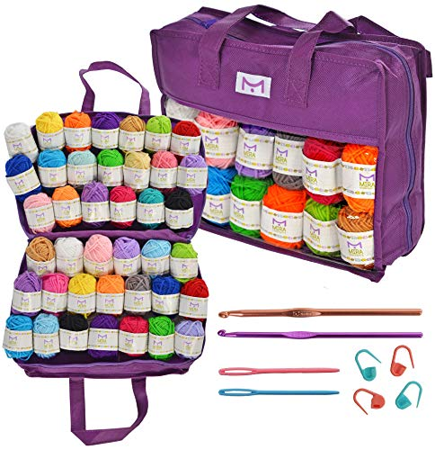 Mira Handcrafts 40 Yarns with Non-Woven Crochet Knitting Carry Bag, 4 Crochet Locking Stitch Markers, 2 Crochet Hooks, 2 Plastic Needles, 7 Ebooks with Yarn Patterns – Ideal Crafts Yarn - Maggie's Crochet