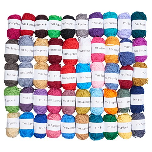 TYH Supplies 50-Pack 44 Yard Acrylic Yarn Assorted Colors Skeins - Perfect for Mini Knitting and Crochet Project - Maggie's Crochet