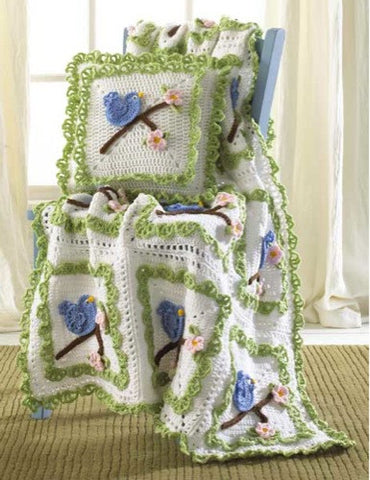 Bluebird Afghan And Pillow Set
