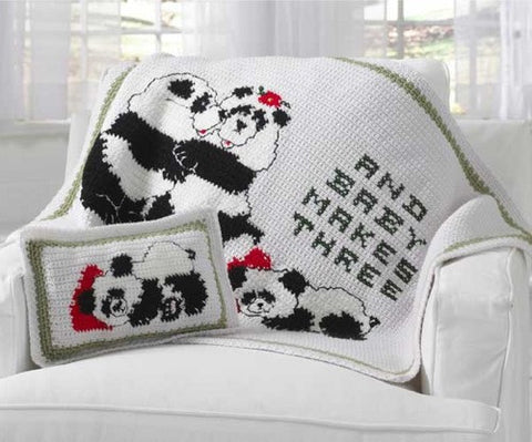 Baby panda makes three afghan and pillow with panda family