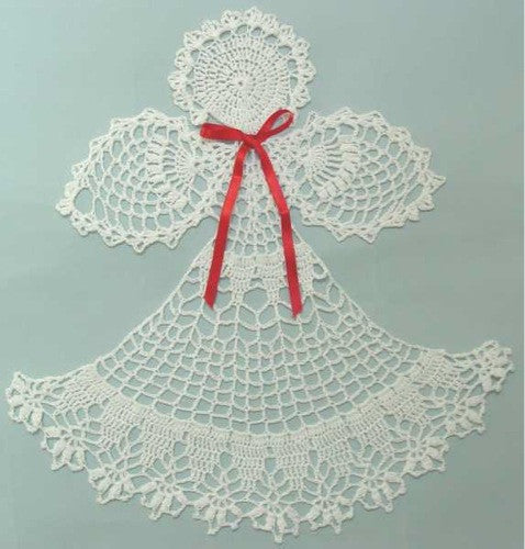 white angel doily with red ribbon