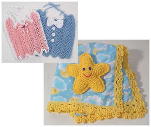 moon and star baby blanket, toy star, and pink and blue crochet bibs