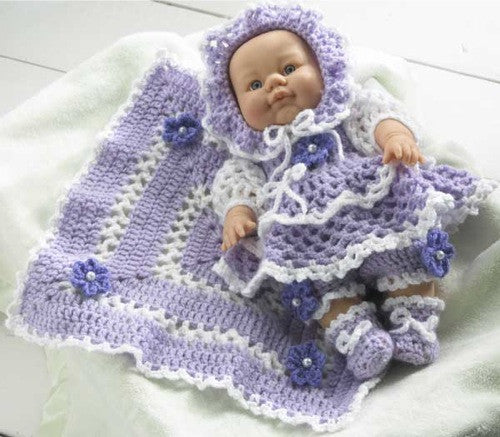 purple baby doll afghan and ensemble