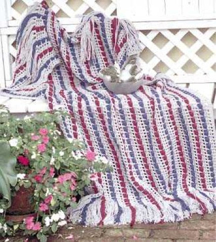 red, white, and blue Berry Garland Afghan