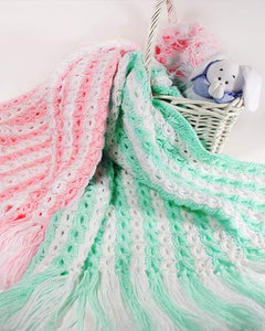 pink and green striped afghans