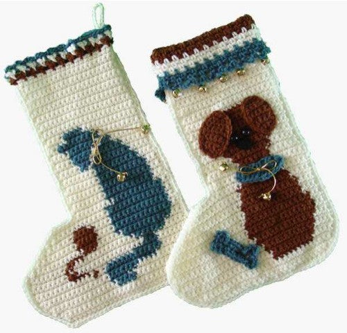 Cat and Mouse and Puppy Love Stockings Crochet Pattern - Maggie's Crochet