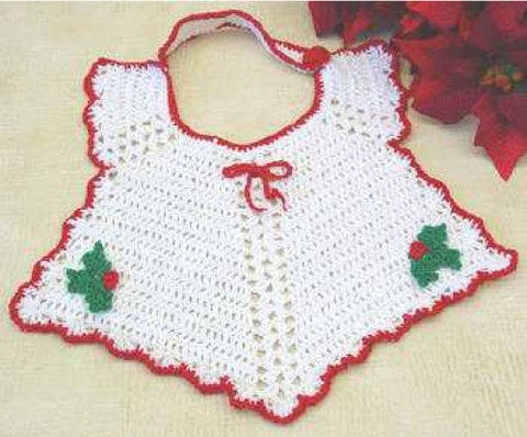 Red and White Christmas baby bib