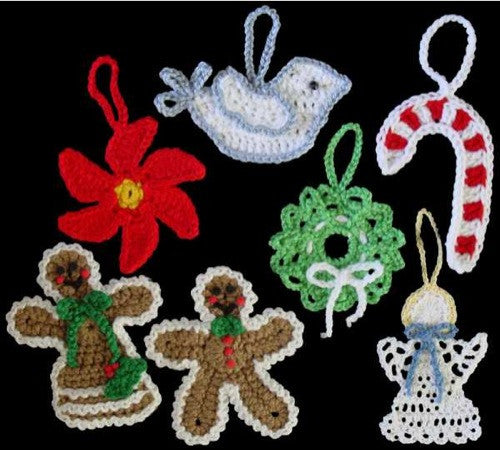 Crochet Angel Baptism Gift Christmas Lace Angel Ornament Tree: Christmas Ornaments Set 1 Crochet Pattern