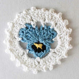 blue and white flower coaster