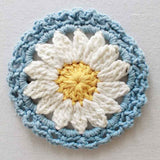 blue and white daisy coaster