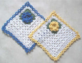 blue and yellow dishcloth