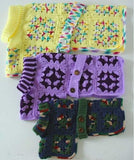 yellow purple and blue dog ponchos