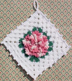 Rosebud flower potholder