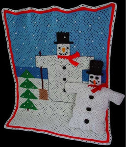 Folk Art Snowman Afghan and Pillow Crochet Pattern - Maggie's Crochet
