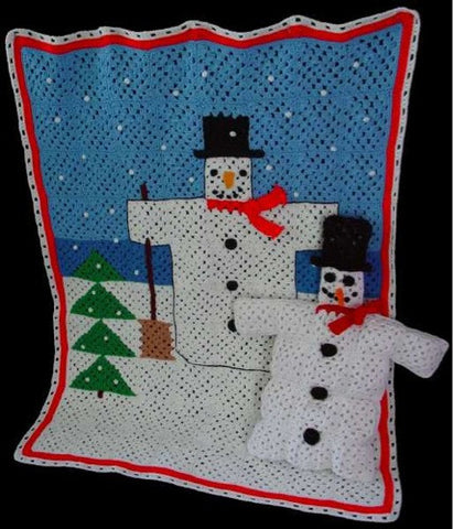 Winter snowman afghan and pillow