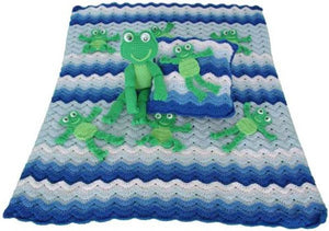 Frolicking Frogs Afghan, Pillow and Toy Crochet Patterns - Maggie's Crochet
