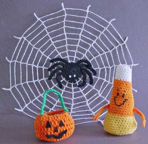 halloween trio pattern pumpkin candy corn and spider in web