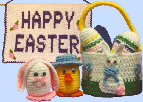 Happy Easter Set which includes Banner, Basket, Duck and Bunny Eggs and Decorated Eggs
