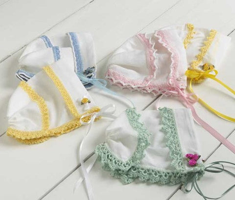 Heirloom Hankie Baby Bonnets Crochet Patten - Maggie's Crochet