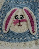 blue and white easter bunny afghan close up