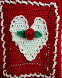 red and white rose heart afghan close up