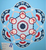 red white and blue doily