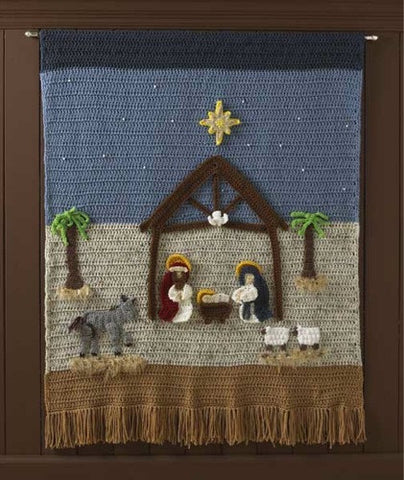 nativity afghan wall hanging