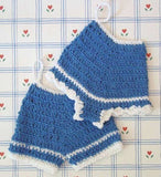blue pants and panties potholders