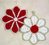 red and white ripple potholders
