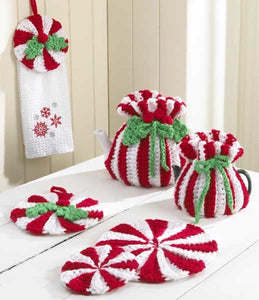 peppermint kitchen set tea cozy twel topper potholder hot pad coaster