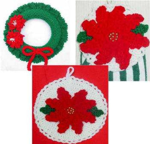 poinsettia set towel topper potholder and wreath