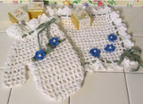 white bath mitt and washcloth
